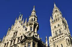 Europe, Germany, Bavaria, Munich, View of neogothic townhall against clear sky Stock Photos