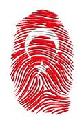 turkish flag fingerprint - stock illustration