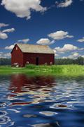Water and Barn Stock Illustration