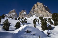 Italy, Dolomites, Langkofel, View of rock and snow in winter Stock Photos