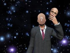 Man removes face showing query before stars Stock Illustration