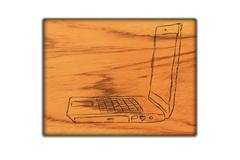 Laptop symbol  on   wood background. Stock Illustration