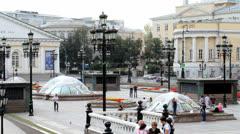 Manezhnaya Square near Moscow Kremlin - stock footage