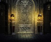 gothic palace interior background - stock illustration