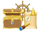 Antique treasure chest  illustration Stock Illustration