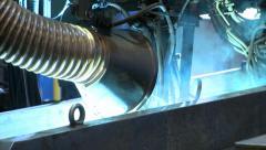 Heavy machinery on duty, welding Industrial background. Stock Footage