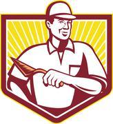 tiler plasterer mason masonry worker retro - stock illustration