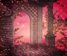pink palace interior background - stock illustration