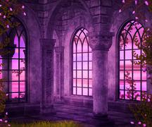 castle interior fantasy backdrop - stock illustration
