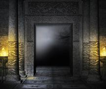 ancient palace interior background - stock illustration