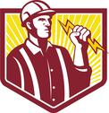 Electrician holding lightning bolt retro Stock Illustration