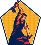blacksmith worker striking sledgehammer anvil retro - stock illustration