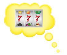 Concept of dream a casino jackpot in cloud illustration Stock Illustration