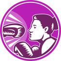 Stock Illustration of female boxer punch retro