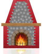 Fireplace illustration Stock Illustration
