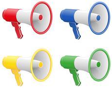 colored megaphones illustration - stock illustration