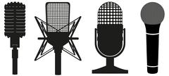 icon set of microphones black silhouette illustration - stock illustration