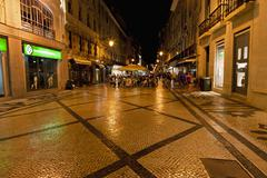 Europe, Portugal, Lisbon, Baixa, View of Rua Augusta road with pedestrian and - stock photo