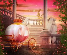 Carriage castle fantasy backdrop Stock Illustration