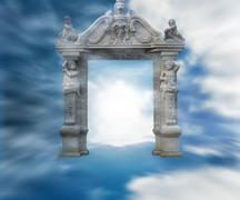 Gate to heaven fantasy background Stock Illustration