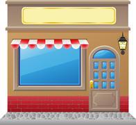 Shop facade with a showcase Stock Illustration