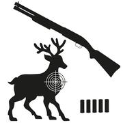 Stock Illustration of shotgun and aim on a deer black silhouette illustration