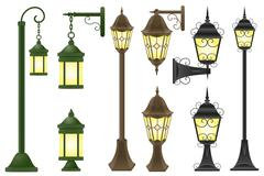 Set streetlight illustration Stock Illustration