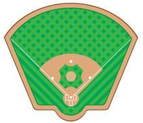 Baseball field illustration Stock Illustration