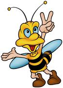 """Wasp Gesturing """"Victory"""" - stock illustration"""