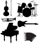 Stock Illustration of set icons silhouettes of musical instruments illustration