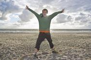 Denmark, Vrist, Boy shouting at seaside Stock Photos
