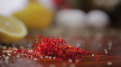 Shafran red spice with lemons HD Stock Footage