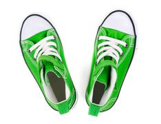 green sneakers top view - stock photo