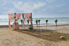flower decoration at the beach wedding venue - stock photo