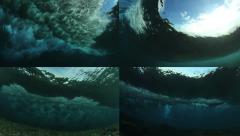 Underwater Ocean Wave Split Screen Collage Stock Footage