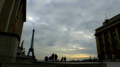 People Enjoy Paris France Time Lapse Silhouetted Stock Footage