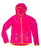 Bright red sports jacket with a hood and yellow accents Stock Photos