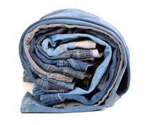 different jeans, rolled up - stock photo