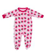 Clothing for newborns with strawberry pattern Stock Photos