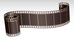Twisted film strip roll for photo or video on white background Stock Illustration