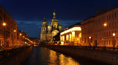 Cathedral of Resurrection and Groboedov channel,  St Petersburg, time-lapse Stock Footage