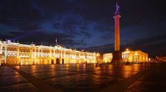 Winter Palace and Palace Square at nigth, St. Petersburg, time-lapse. Stock Footage