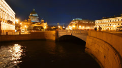 St.Isaak Square, channel and cathedral at nigth, St. Petersburg, time-lapse Stock Footage
