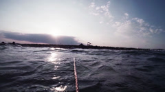 PANORAMIC VIEW OF BEACH FROM THE SEA - stock footage