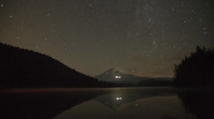 Perseid Meteor Shower in Trillium Lake with Mount Hood Time Lapse Stock Footage
