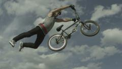 Slow Motion BMX Jumping Trick Stock Footage
