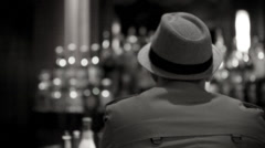 Man At Bar Turns His Head - stock footage
