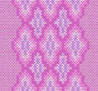 Seamless Pink Color Style Knitted Ornament Stock Illustration