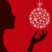 Christmas Eve background. Profile Silhouette of Pretty Woman Stock Illustration