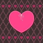 Vintage Heart Shape Design with Knitted Pattern - stock illustration